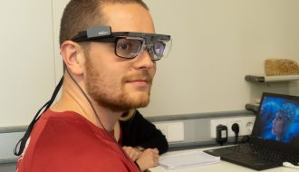 Participant wearing the eyetracking glasses.